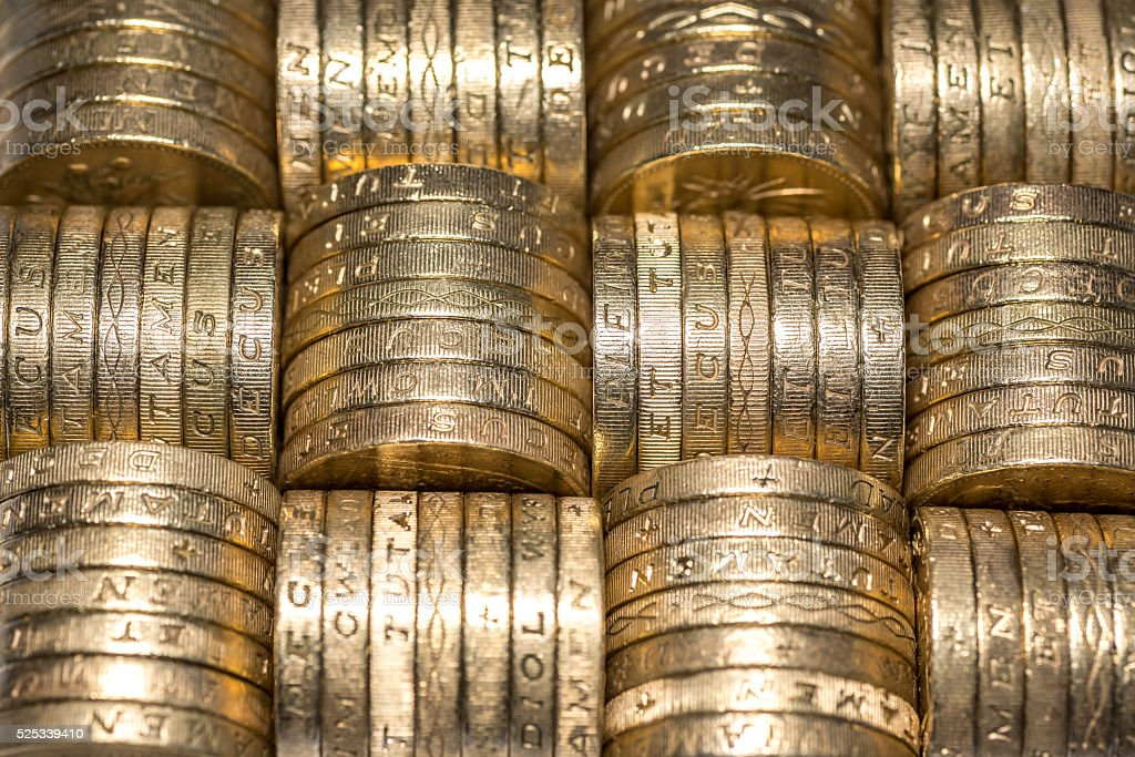 Pound coins stack stock photo