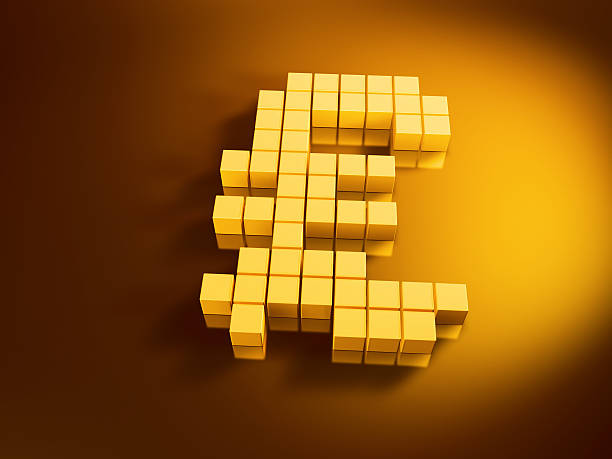 Pound Currency Symbol Golden Cubes 3D Render of a Pound currency symbol with pixelated golden cubes. Very high resolution available! Use it for Your own composings!Related images: golden cube stock pictures, royalty-free photos & images