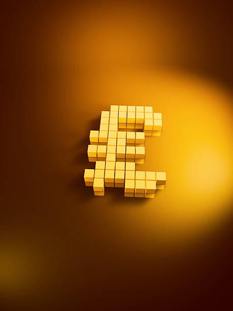 Pound Currency Symbol Golden Cubes Vertical 3D Render of a Pound currency symbol with pixelated golden cubes. Very high resolution available! Use it for Your own composings!Related images: golden cube stock pictures, royalty-free photos & images