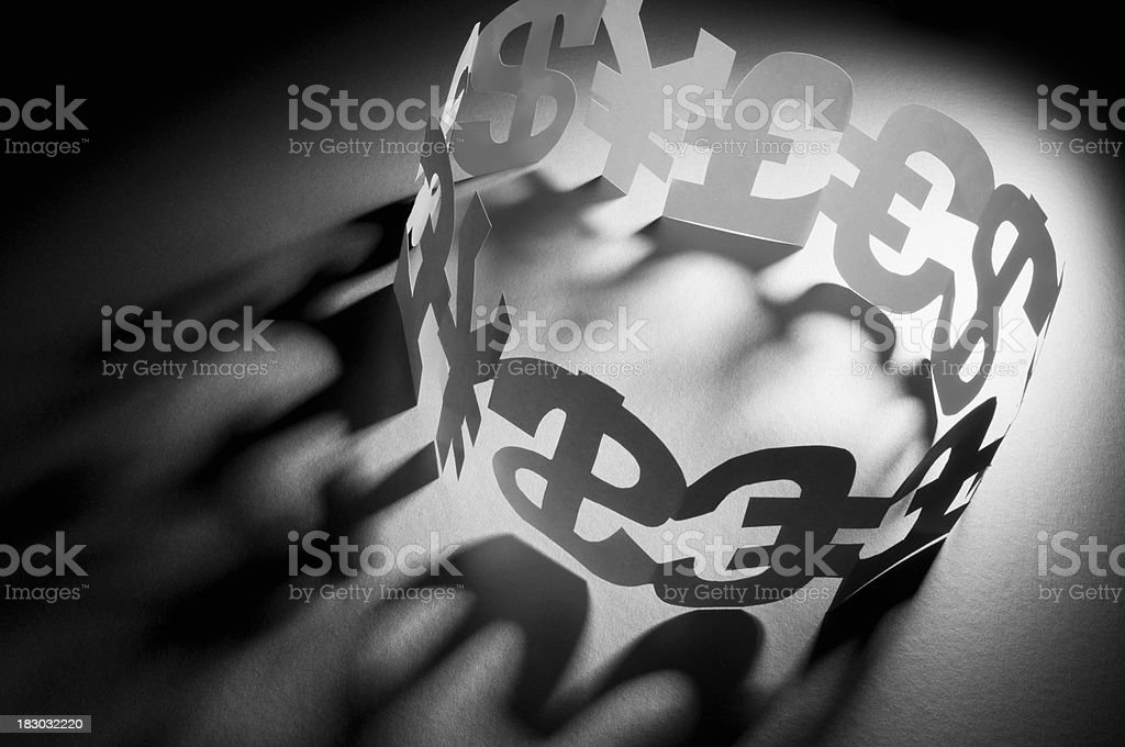 Pound, Euro, dollar and Yen symbols connected in a circle royalty-free stock photo