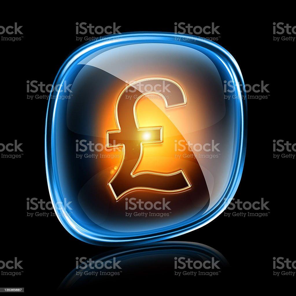 Pound icon neon, isolated on black background royalty-free stock photo