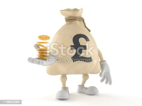 872222012istockphoto Pound money bag character with stack of coins 1158032881