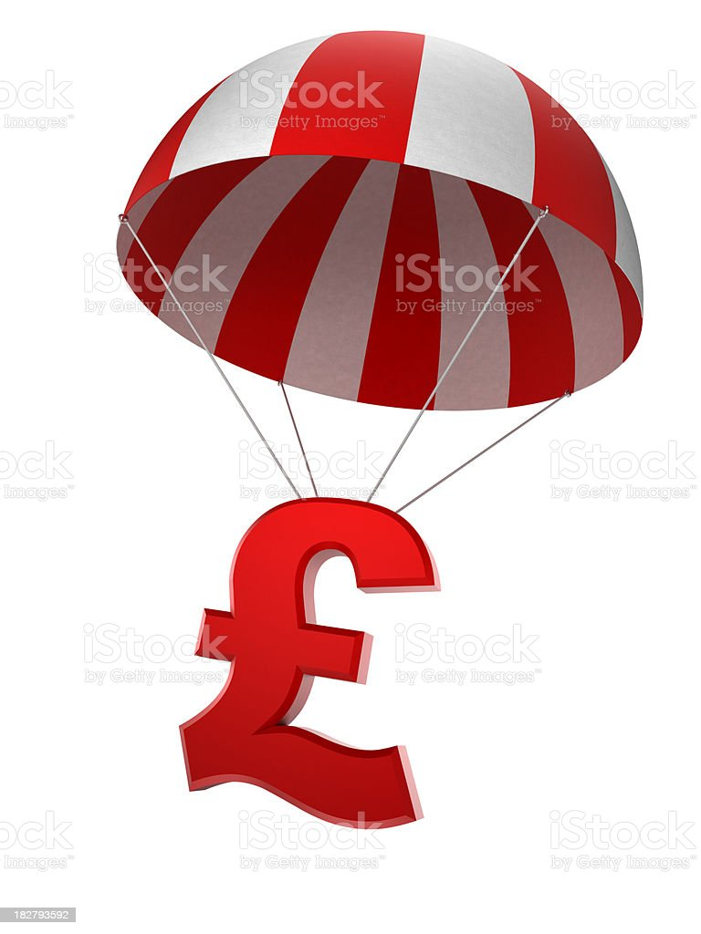Pound sign in parachute - isolated with clipping path royalty-free stock photo