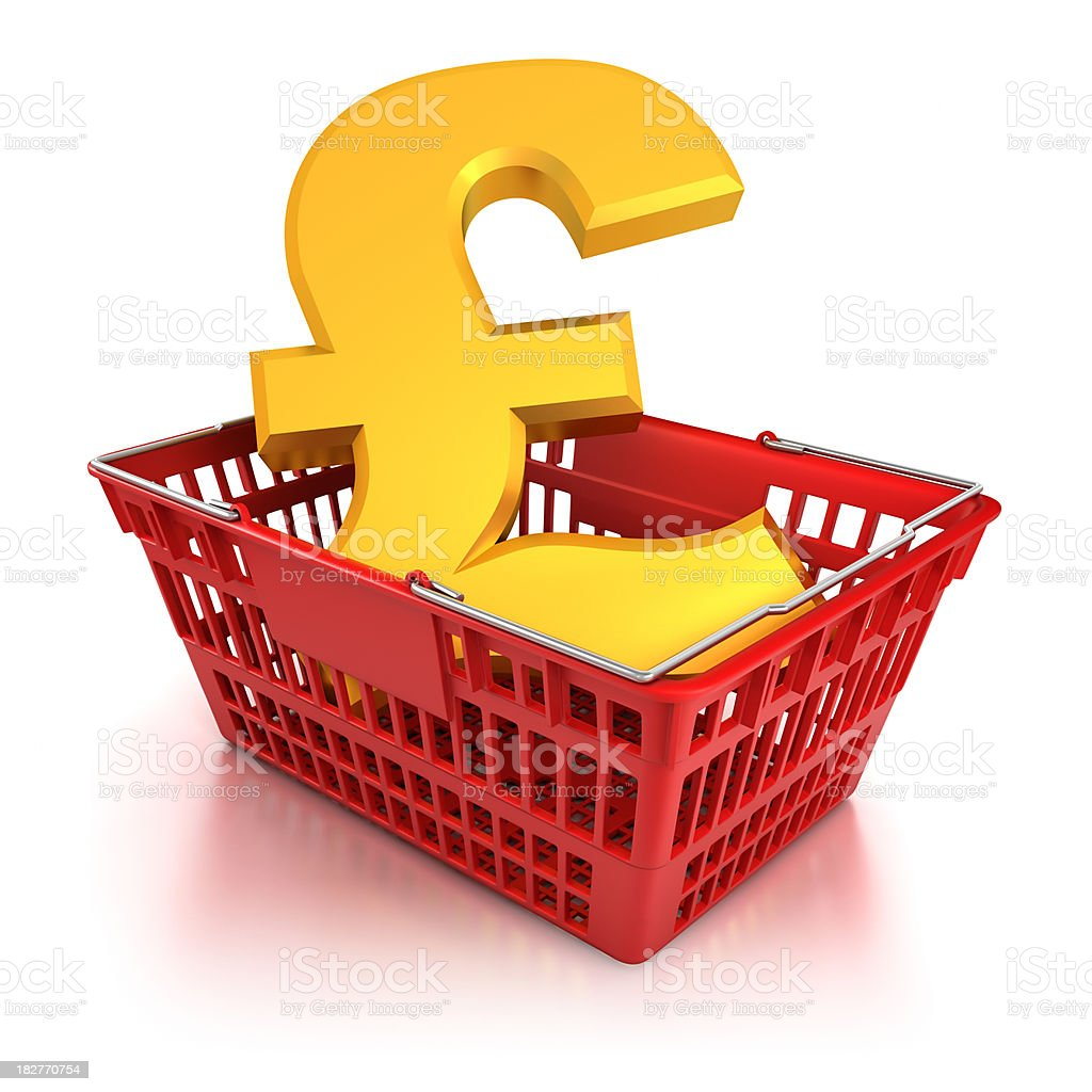 Pound sign in shopping basket - isloated with clipping path royalty-free stock photo