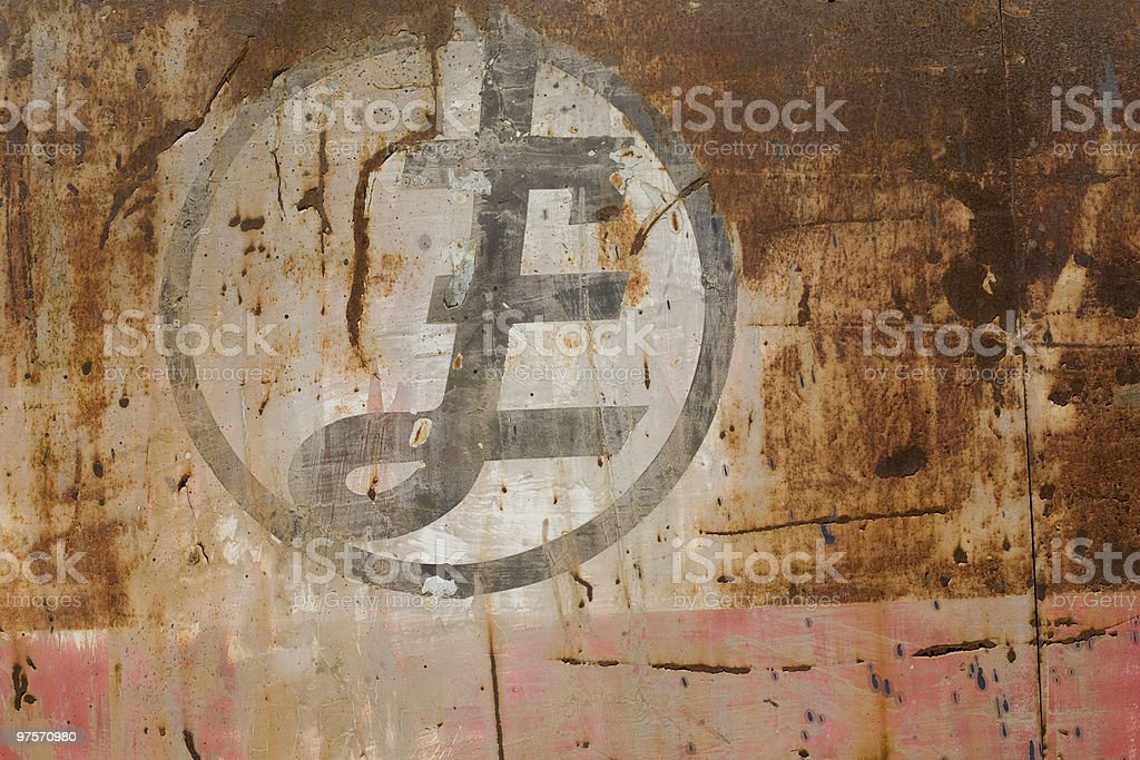 Pound sign on rusty background royalty-free stock photo