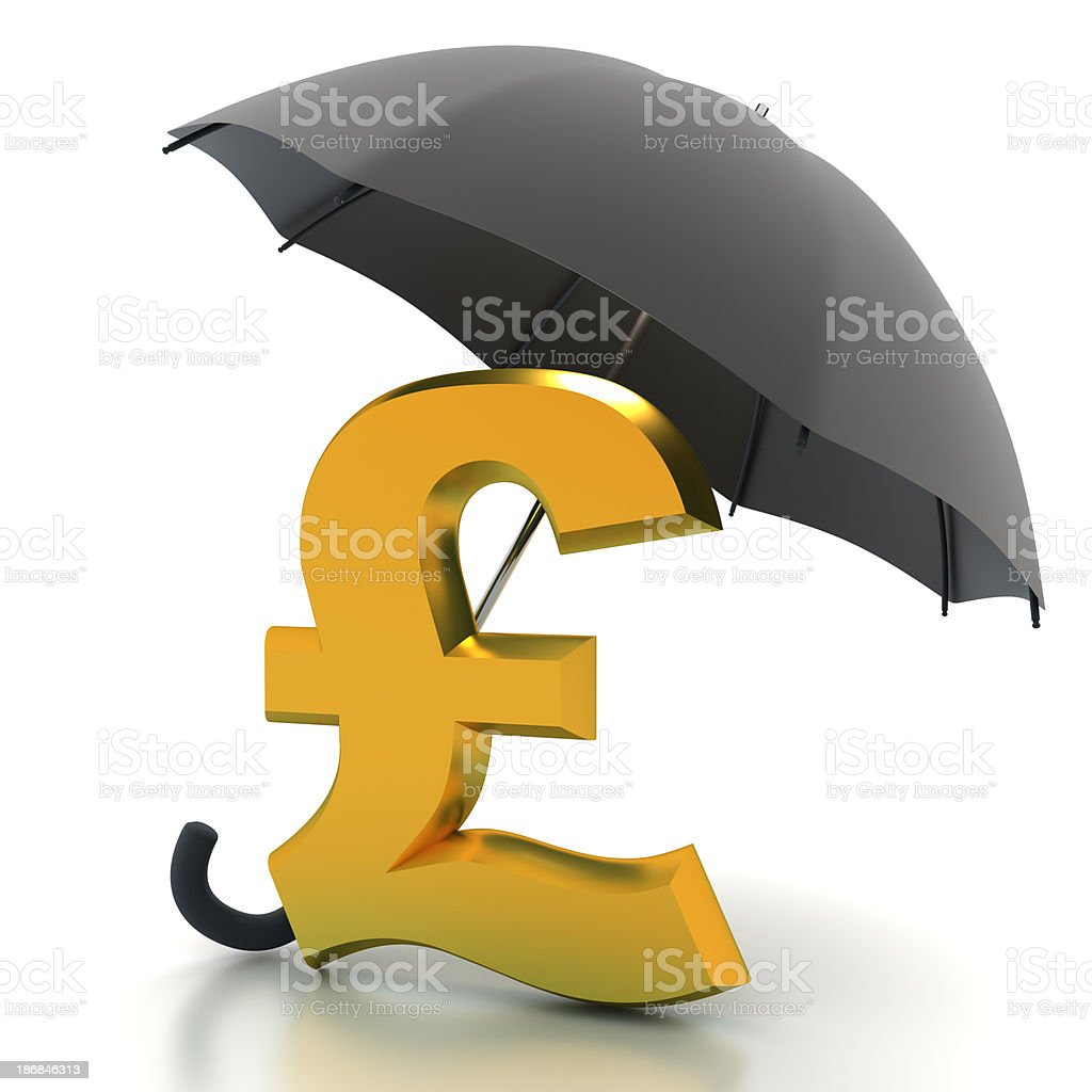 Pound sign under umbrella - with clipping path royalty-free stock photo