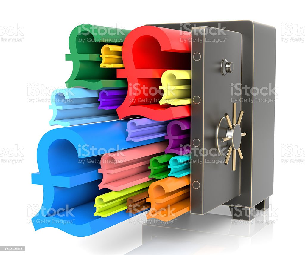 Pound signs flowing out safe royalty-free stock photo