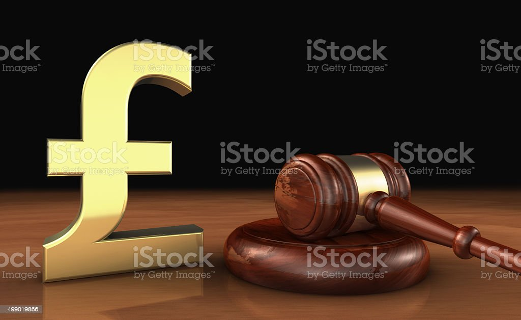 Uk Pound Sterling And Law Symbol Cost Of Justice Concept Stock Photo