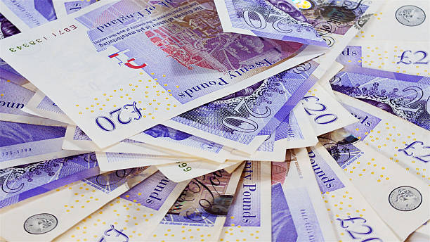 Pound sterling bank notes stock photo