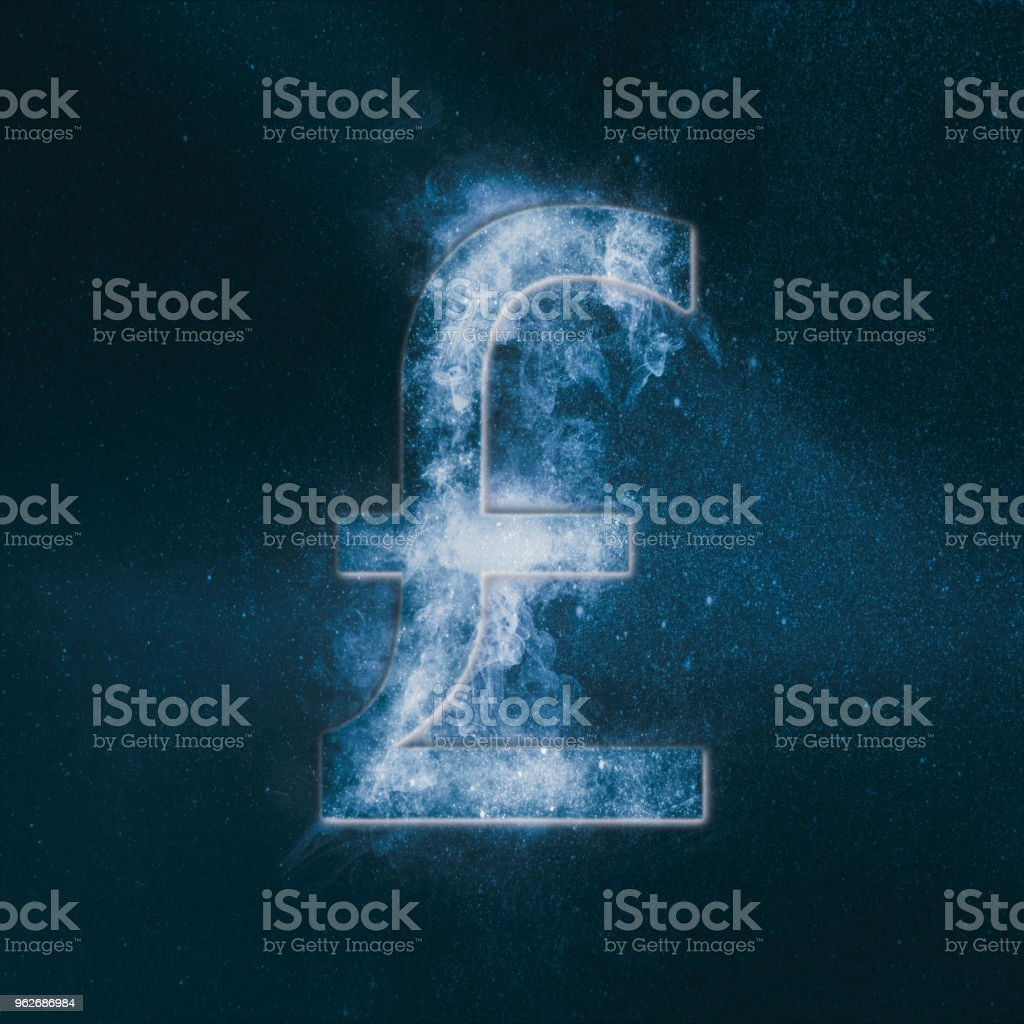 Pound sterling sign, Pound sterling Symbol. Monetary currency symbol. Abstract night sky background. stock photo