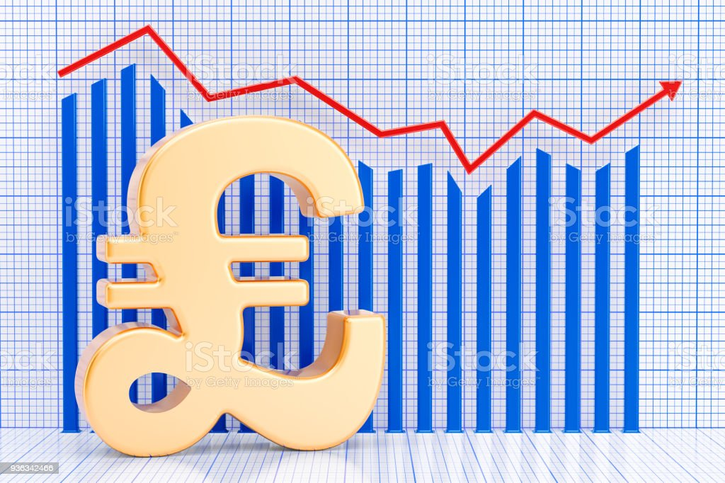 Pound sterling symbol with growing chart. 3D rendering stock photo