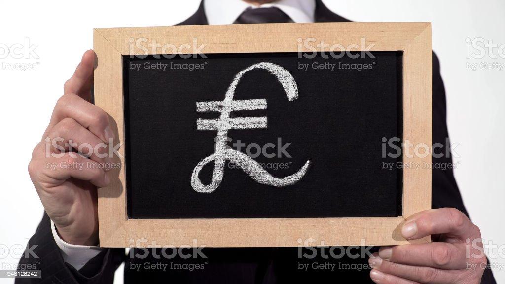 Pound Symbol Drawn On Blackboard In Businessman Hands British