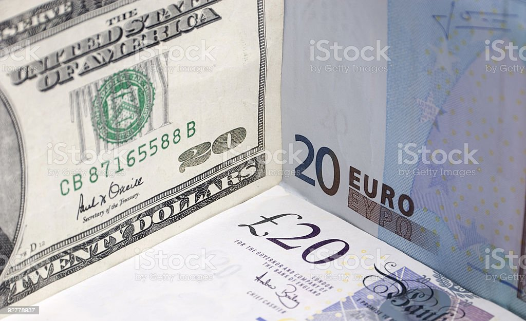 Pounds, Euros and Dollars royalty-free stock photo