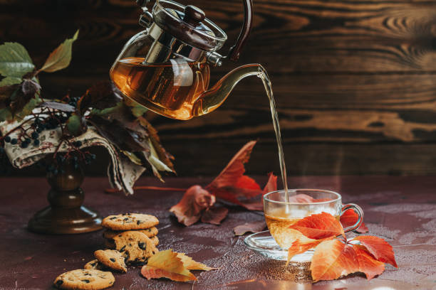 Pour hot tea in glass cup. Autumn teatime composition on dark background with colored leaves and chocolate cookies, sun light beam on the cup stock photo