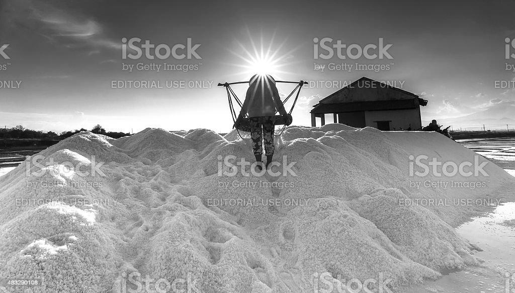 Pour salt salt workers into heaps stock photo