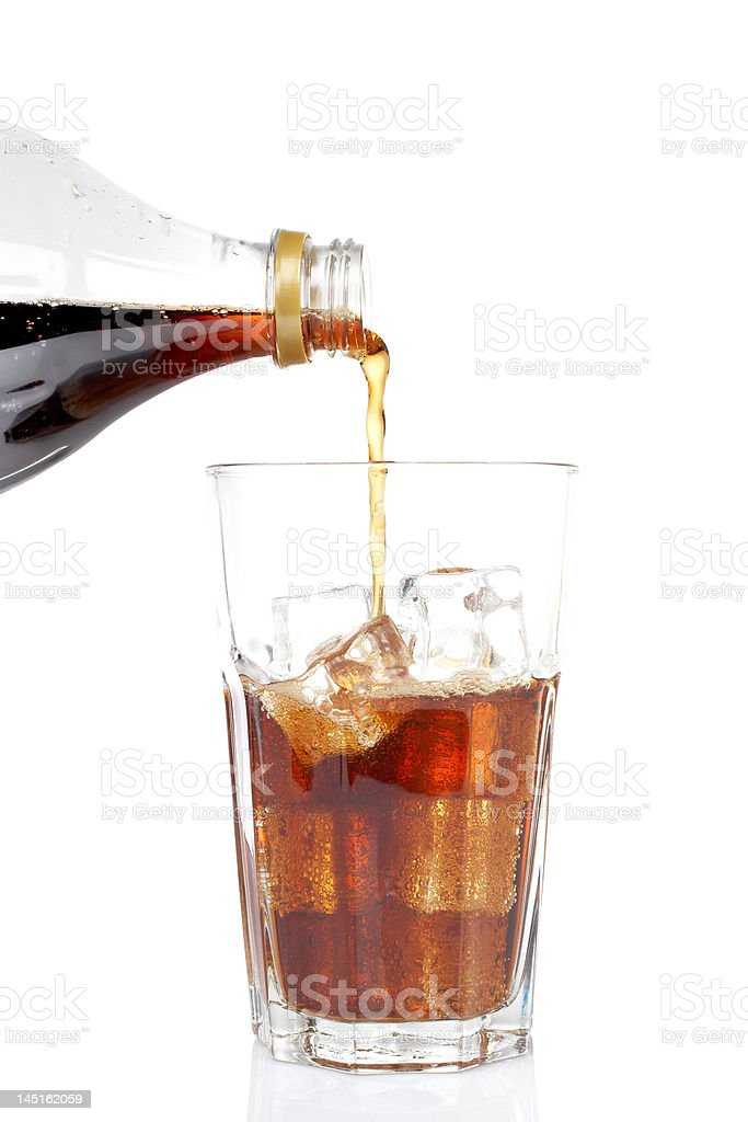 Poured soda in a glass stock photo