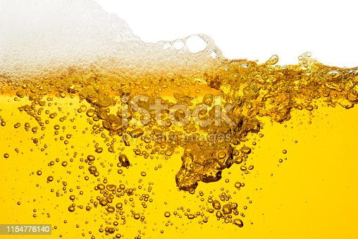 Pouring beer isolated on white background with bubble froth texture foam alcohol soda in glass happy new year celebration party holiday concept object design