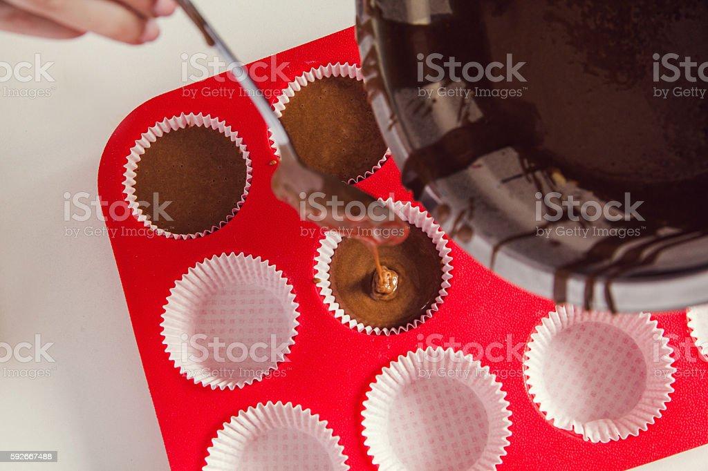 Pouring Cake Mix stock photo