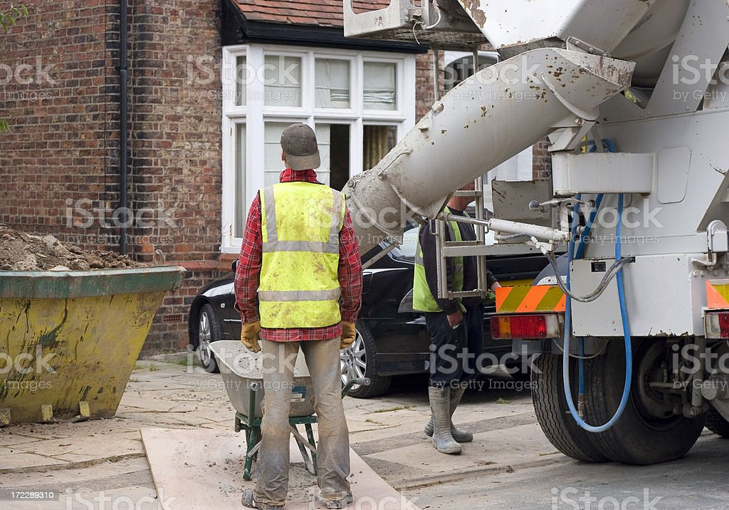 Pouring cement stock photo