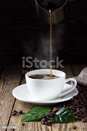 Pouring coffee in cup