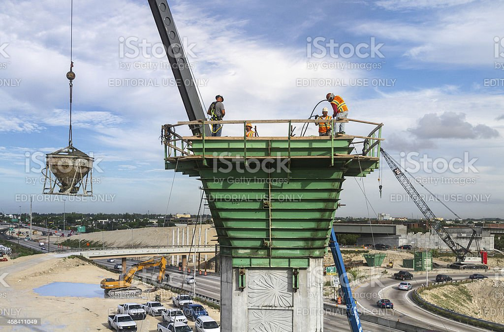 Pouring concrete at the construction site royalty-free stock photo