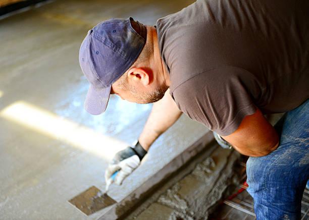 eingießen beton etage - diy beton stock-fotos und bilder