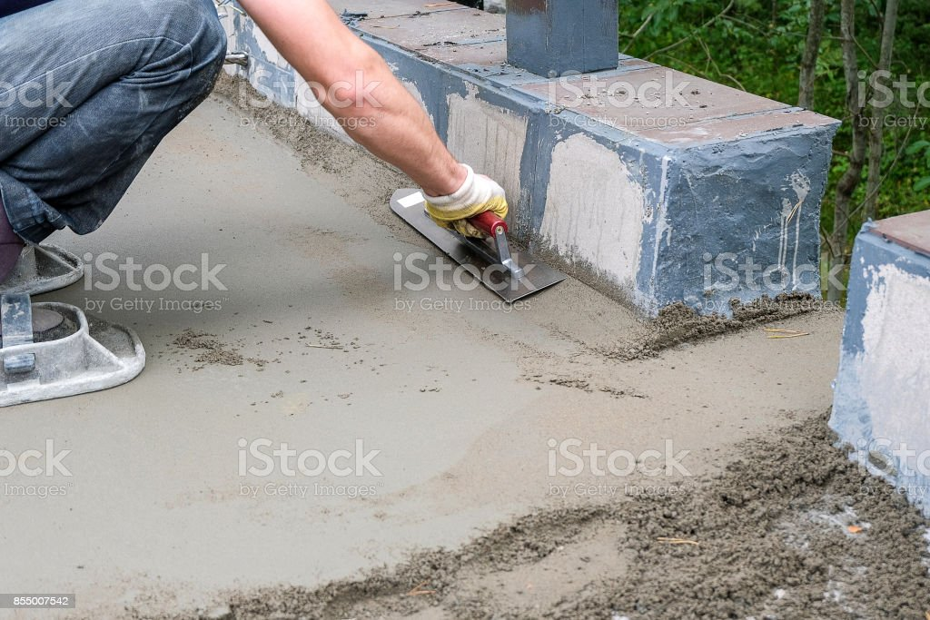pouring concrete slab stock photo