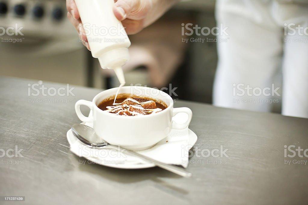 Pouring double cream stock photo