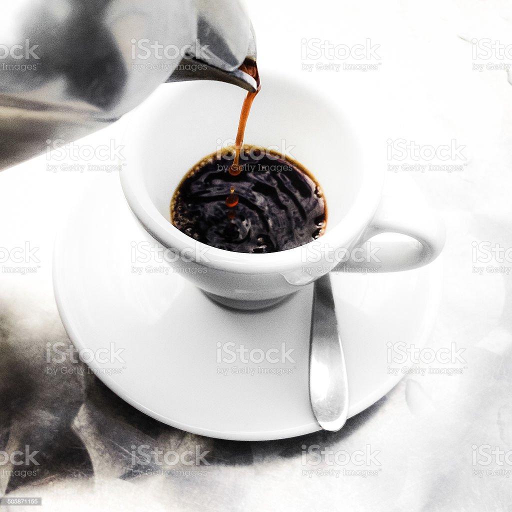 Pouring espresso stock photo