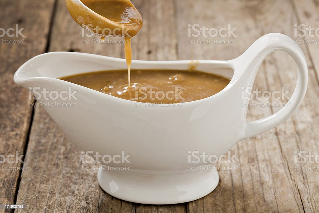 Pouring Gravy stock photo