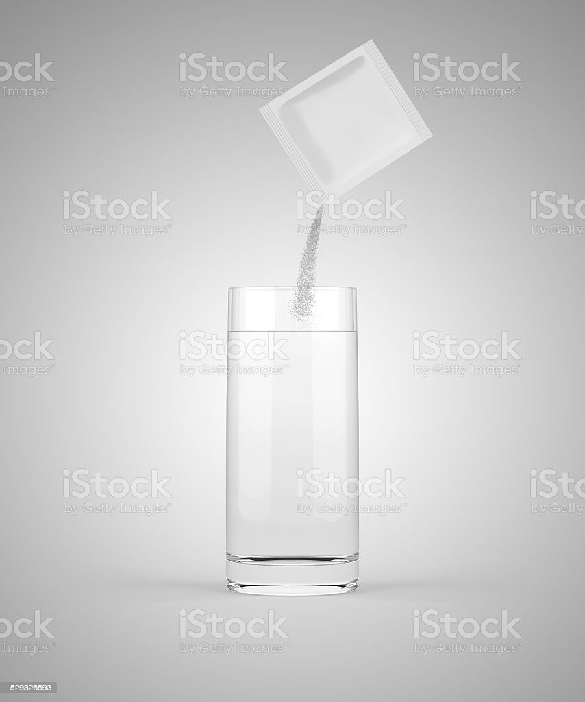 Pouring medicine into glass stock photo