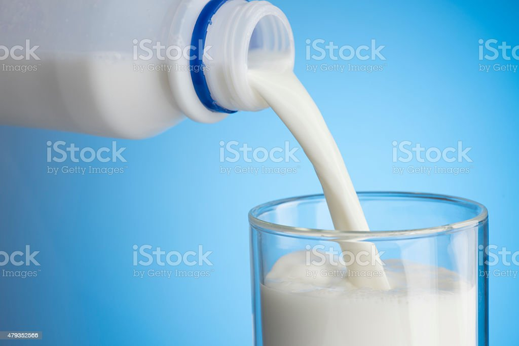 Pouring Milk Into Glass stock photo
