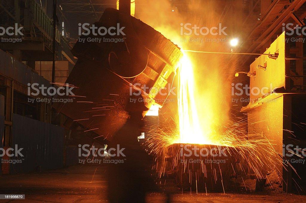Pouring molten iron royalty-free stock photo
