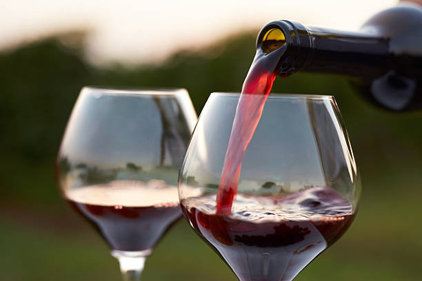 Pouring red wine Pouring red wine into glasses in the vineyard at sunset merlot grape stock pictures, royalty-free photos & images