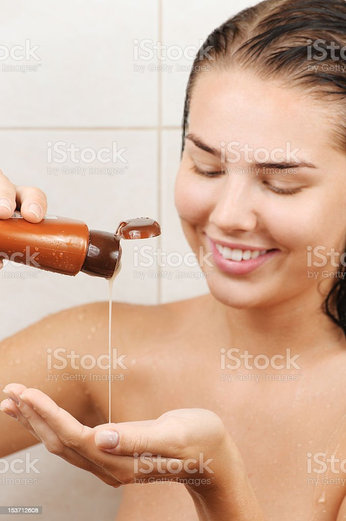 pouring shampoo royalty-free stock photo