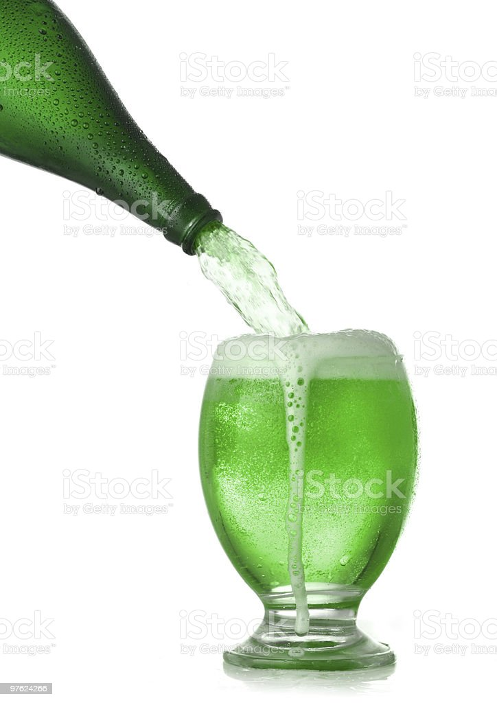 Pouring St. Patrick's Day green beer royalty-free stock photo