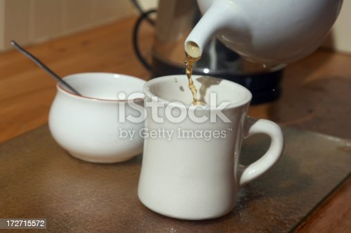 Pouring tea from teapot