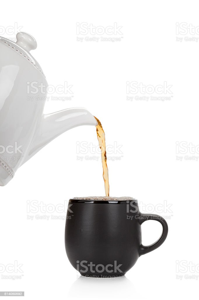 Pouring tea into a cup isolated on white stock photo