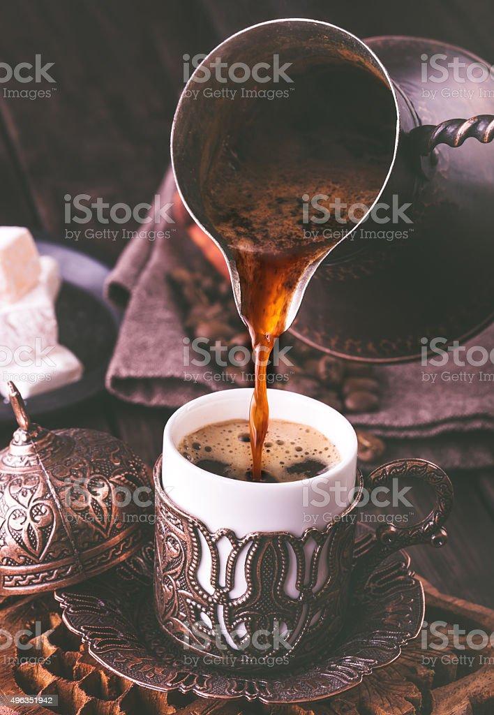 Процедура турецкий кофе стоковое фото