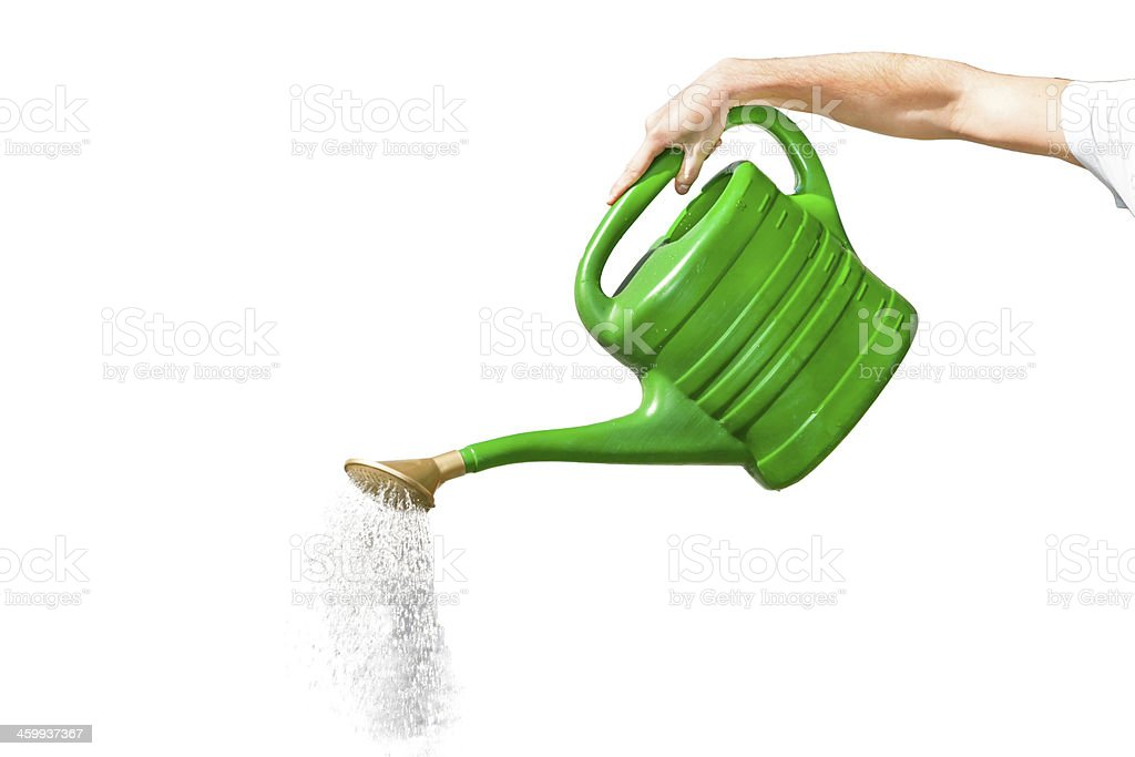 Pouring watering can stock photo