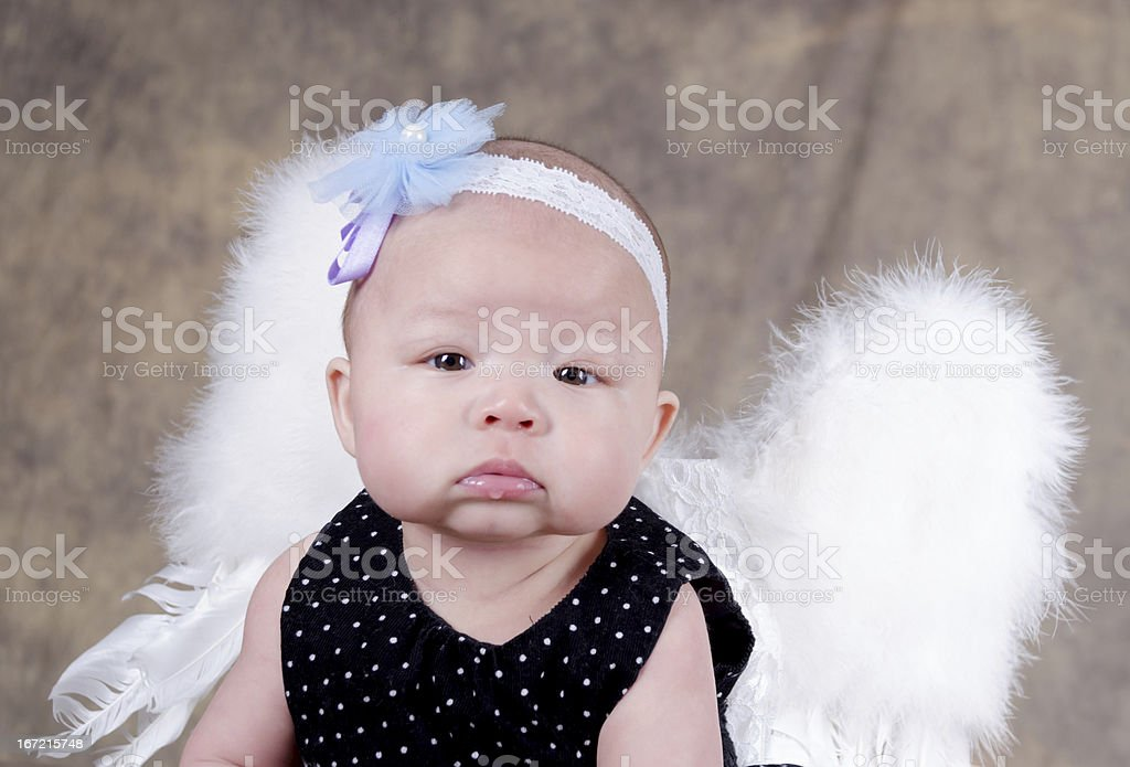 Pouting baby girl with white feather wings. stock photo