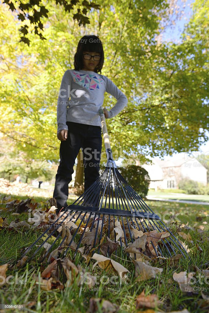 Pouting Young Girl Not Raking Leaves stock photo