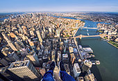 Point of view of human legs in Manhattan from an helicopter. New York, USA