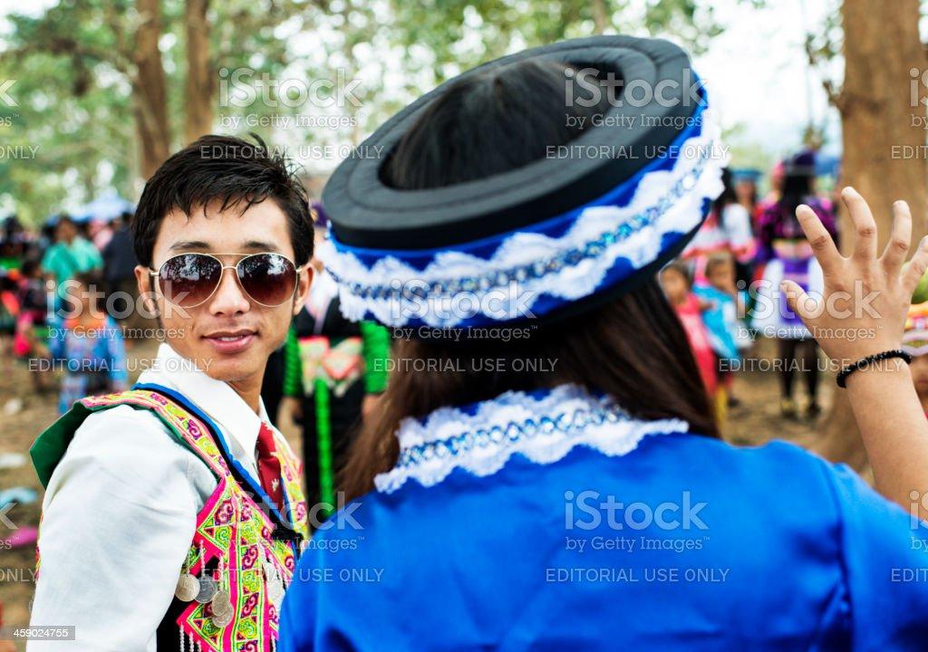 Pov Pob Traditional Hmong Ball Game stock photo