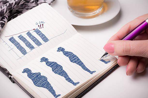 pov gewicht verlust notebook skizze der planung - trainingsplan frauen stock-fotos und bilder