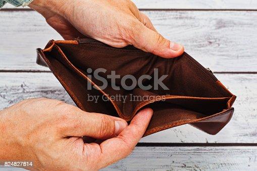 istock Poverty concept - empty wallet in hands 824827814
