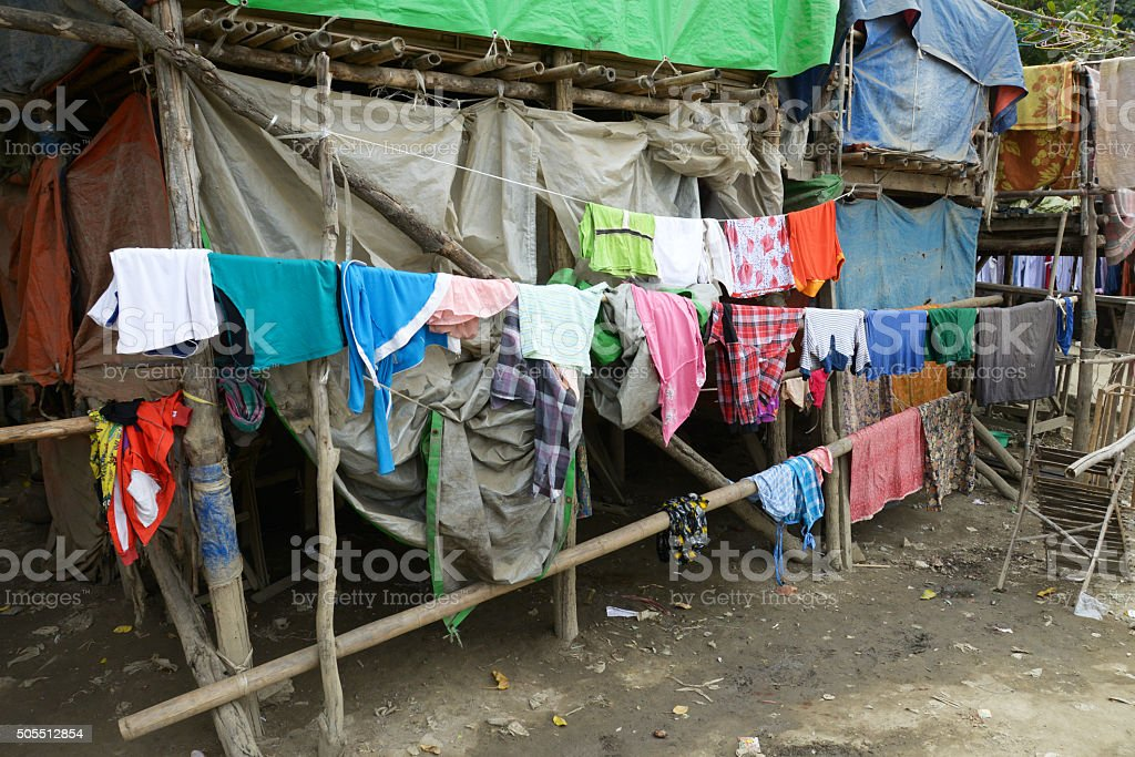 Poverty On A Clothes Line stock photo