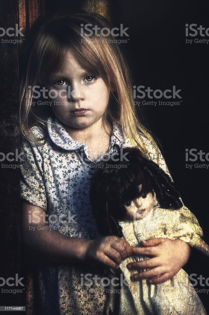poverty stricken little girl looking sad stock photo more pictures