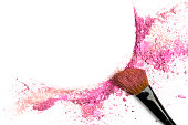 istock Powder and blush forming frame, with makeup brush 906036252