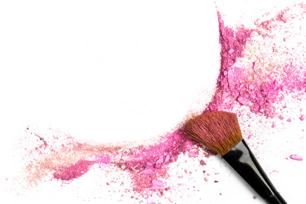 powder and blush forming frame, with makeup brush - make up stock photos and pictures